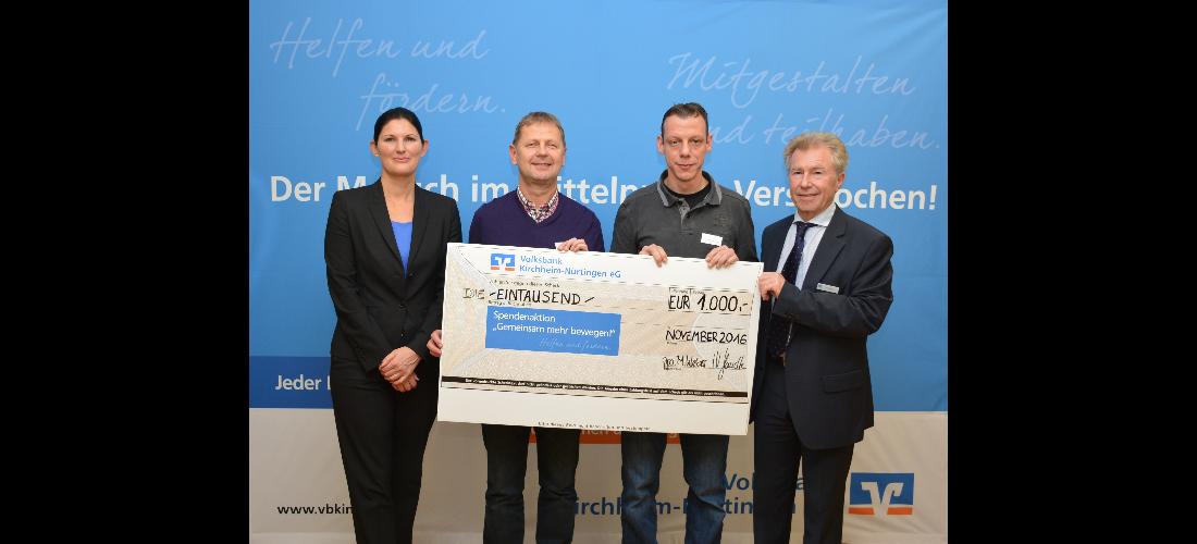Volksbank Kirchheim-Nürtingen unterstützt  Projekt der Neckartenzlinger Handballer